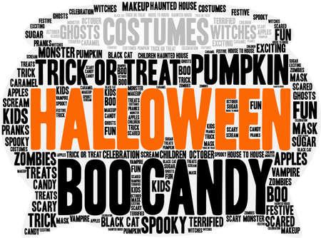 terrified: Halloween word cloud. Illustration