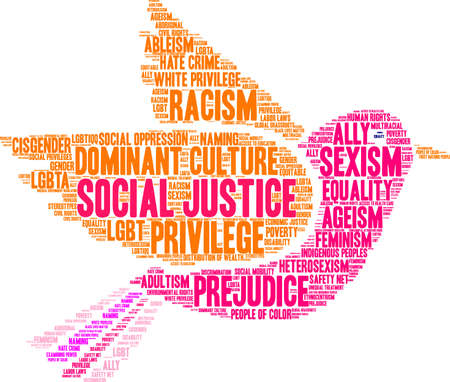 Social Justice word cloud on a black background. Stock Illustratie