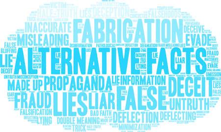 Alternative Facts word cloud concept. Çizim