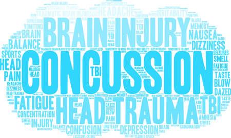 Concussion word cloud concept.