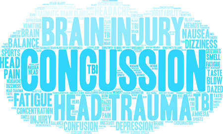 Concussion word cloud concept.