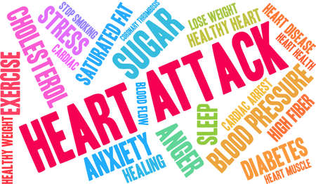 Heart Attack word cloud on a white background. Illustration