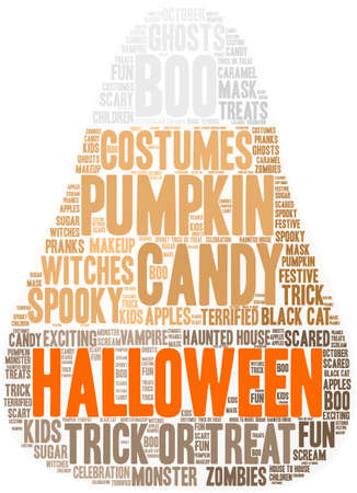 terrified: Halloween word cloud on a white background. Illustration