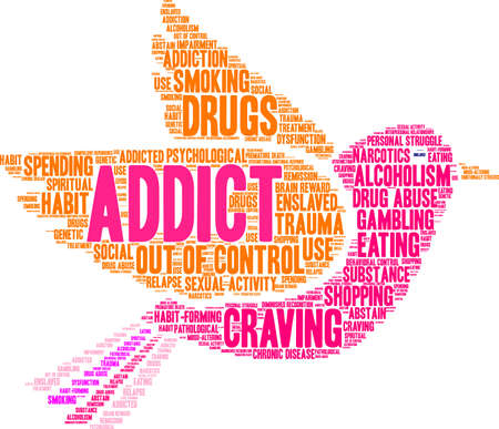 emotional stress: Addict word cloud on a white background.