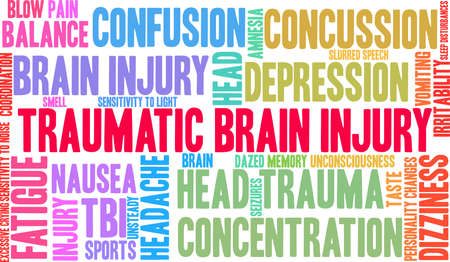 Traumatic Brain Injury word cloud on a white background. Stock Vector - 88461455