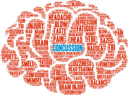 Concussion word cloud concept. Stok Fotoğraf - 88462595
