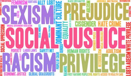 社会正義の単語の雲の概念。