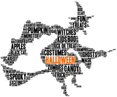 terrified: Halloween word cloud concept.