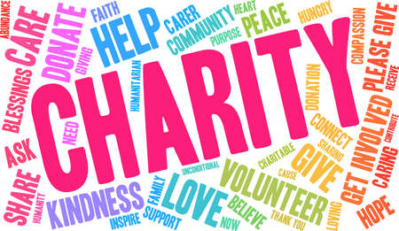 Charity word cloud concept. Illustration