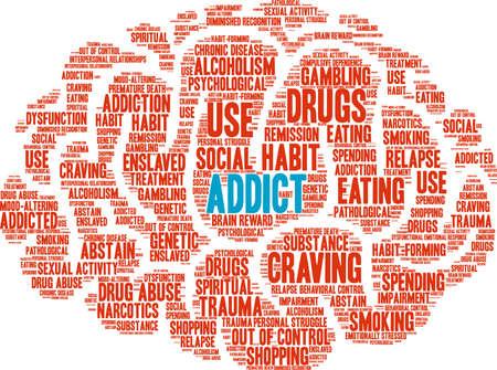 Addict word cloud concept.