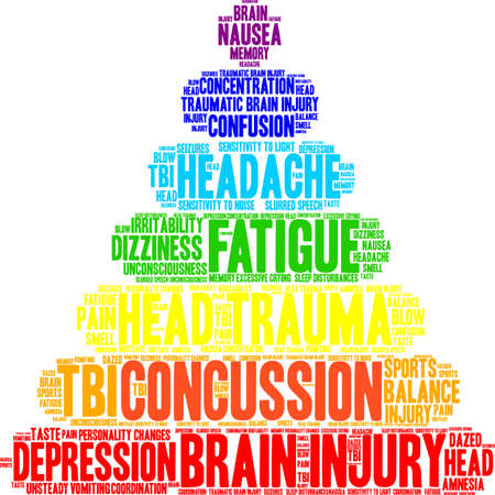 Concussion word cloud on a white background. Illustration
