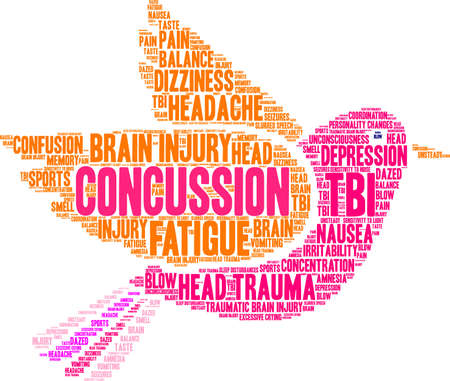 Concussion word cloud on a white background. Иллюстрация