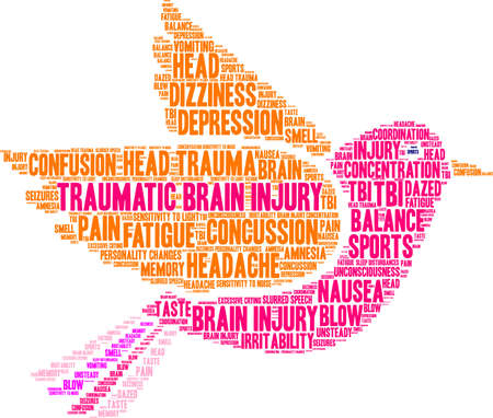 Traumatic Brain Injury word cloud concept. 向量圖像