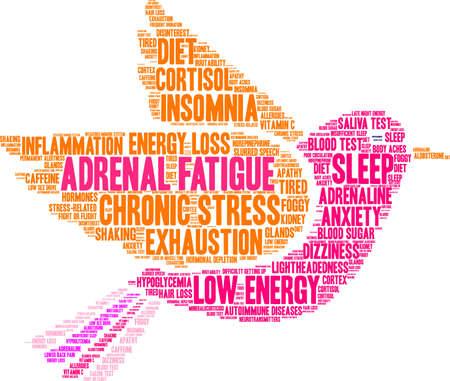 Adrenal fatiga palabra nube concepto. Foto de archivo - 88463087