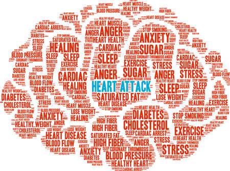 Heart attack word cloud on a white background, vector illustration.