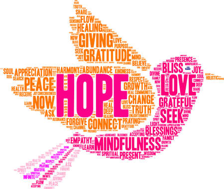 Hope word cloud on a white background.