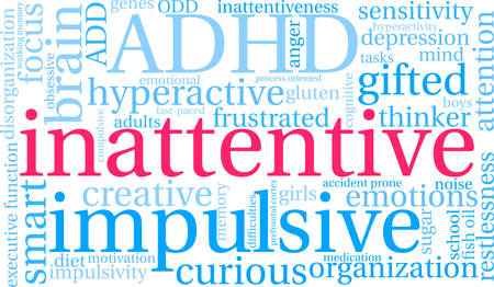 Inattentive word cloud concept.
