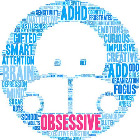Obsessieve ADHD-woordwolk op een witte achtergrond.