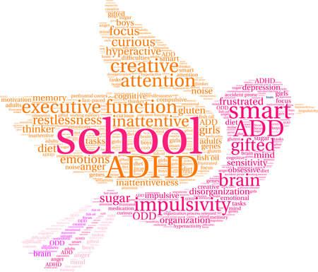 School ADHD-woordwolk op een witte achtergrond.