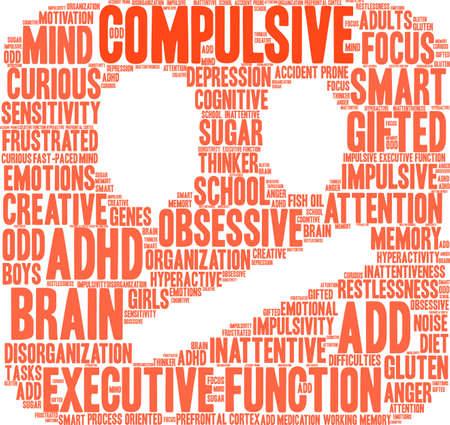 Compulsive word cloud concept.