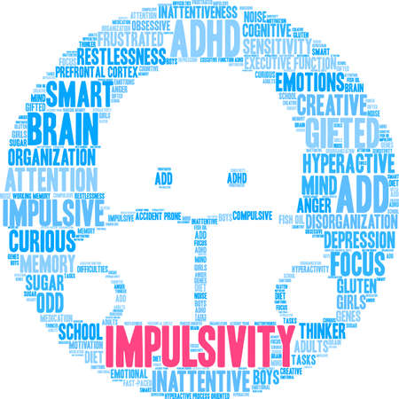 Impulsivity word cloud concept. Çizim