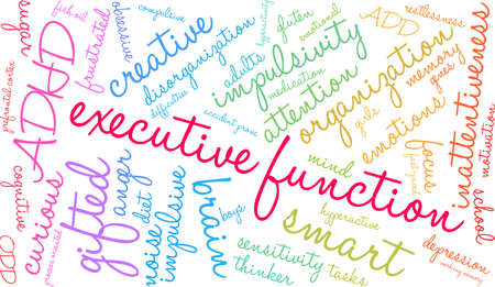 Executive function word cloud concept. Illustration