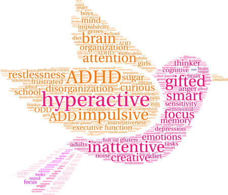 Hyperactive word cloud concept.