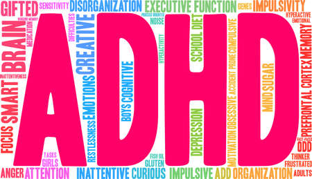 ADHD word cloud concept.