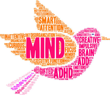 oriented: Mind word cloud concept. Illustration