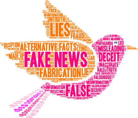 Fake news word cloud concept.
