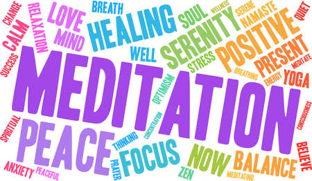 Meditation word cloud concept.