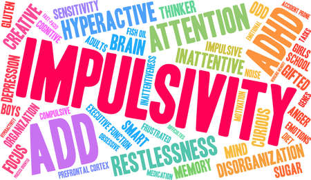 Impulsivity ADHD word cloud on a white background.  Illustration