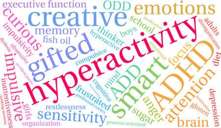 Hyperactiviteit ADHD-woordwolk op een witte achtergrond. Stock Illustratie