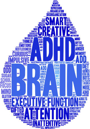 Cerveau de mot cerveau TDAH sur un fond blanc.