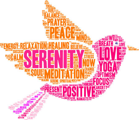 Serenity word cloud on a white background.  Ilustração