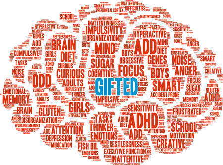Gifted ADHD word cloud on a white background. Illustration