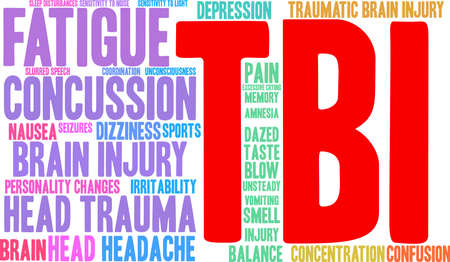 TBI word cloud on a white background. Illustration