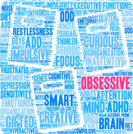 Obsessive ADHD word cloud on a white background. Illustration