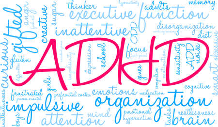 ADHD word cloud on a white background. Banco de Imagens - 89038145