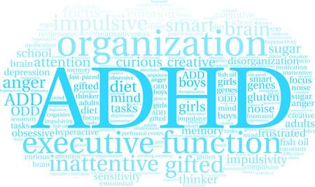 ADHD woord wolk op een witte achtergrond.