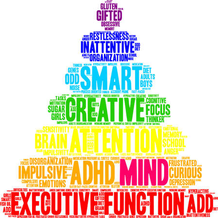 school of fish: Mind ADHD word cloud on a white background. Illustration