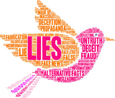 bad news: Lies word cloud on a white background.  Illustration