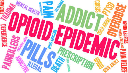 Opioid Epidemic word cloud on a white background.  Иллюстрация