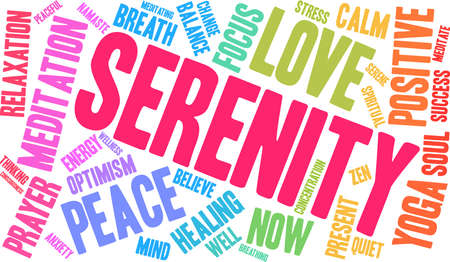 Serenity word cloud on a white background. Illustration