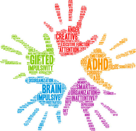 gifted: ADHD word cloud on a white background. Illustration