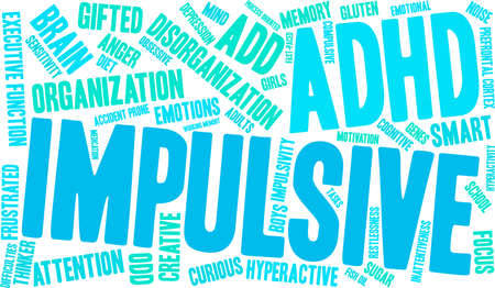 Impulsive ADHD word cloud on a white background. Stok Fotoğraf - 89038638