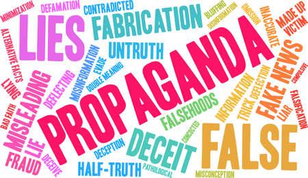 Propaganda word cloud on a white background.  Ilustrace