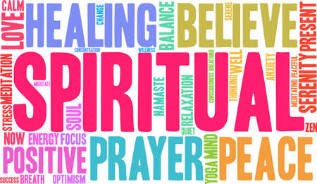 Spiritual word cloud on a white background.