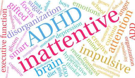 Onoplettende ADHD-woordwolk op een witte achtergrond.