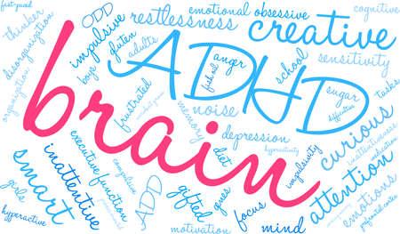 Brain ADHD word cloud on a white background. Çizim